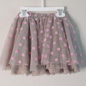 Petit Lem Gray Pink Polka Dot Layered Tulle Skirt